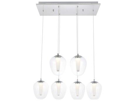 Elegant Lighting Chrome Six-Light 26'' Wide LED Pendant Light