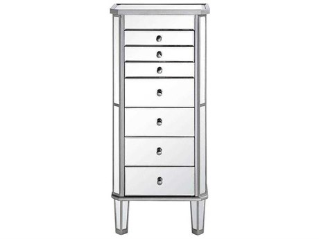 Elegant Lighting Silver & Clear Mirror Seven-Drawers Jewelry Armoire EGMF61003SC