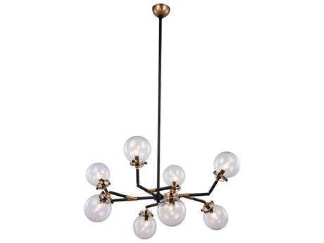 Elegant Lighting Leda Burnished Brass & Flat Black Eight-Light 44'' Wide Pendant Light EG1507G44BB