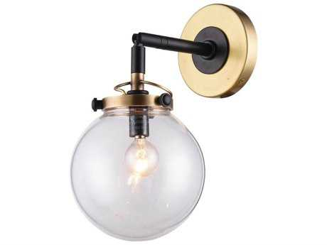 Elegant Lighting Leda Burnished Brass & Flat Black Wall Sconce EG1507W6BB