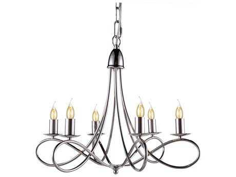 Elegant Lighting Lyndon Polished Nickel Six-Lights 24'' Wide Mini Chandelier EG1452D22PN