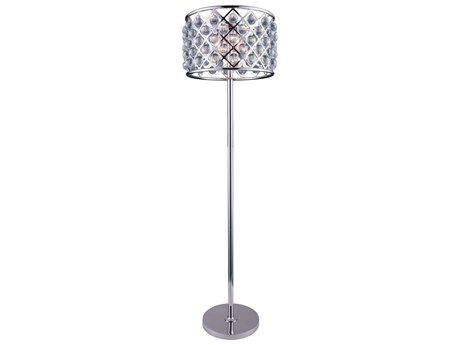 Elegant Lighting Madison Polished Nickel & Clear Crystal Four-Lights Floor Lamp EG1204FL20PN