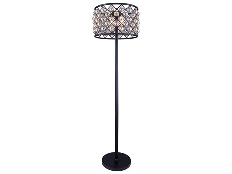 Elegant Lighting Madison Mocha Brown & Golden Teak Crystal Four-Lights Floor Lamp EG1206FL20MBGT