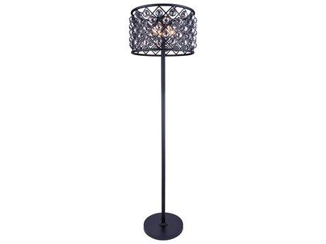 Elegant Lighting Madison Mocha Brown & Silver Shade Crystal Four-Lights Floor Lamp EG1206FL20MBSS