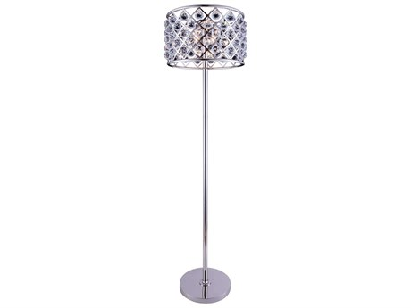 Elegant Lighting Madison Polished Nickel & Clear Crystal Four-Lights Floor Lamp EG1206FL20PN