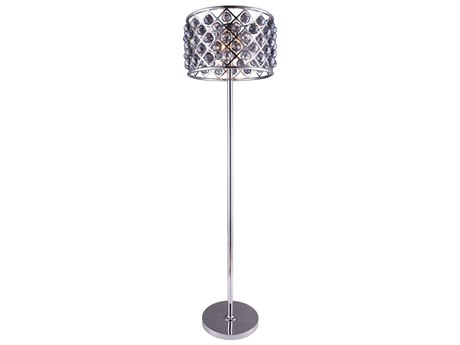 Elegant Lighting Madison Polished Nickel & Silver Shade Crystal Four-Lights Floor Lamp EG1206FL20PNSS