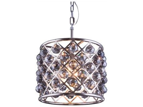 Elegant Lighting Madison Polished Nickel & Silver Shade Crystal Four-Lights 14'' Wide Pendant Light EG1206D14PNSS