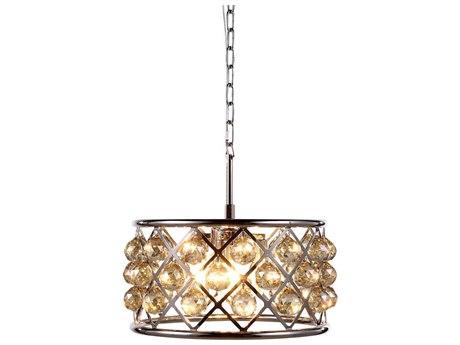 Elegant Lighting Madison Polished Nickel Four-Light 16'' Wide Pendant Light with Golden Teak Cut Crystal