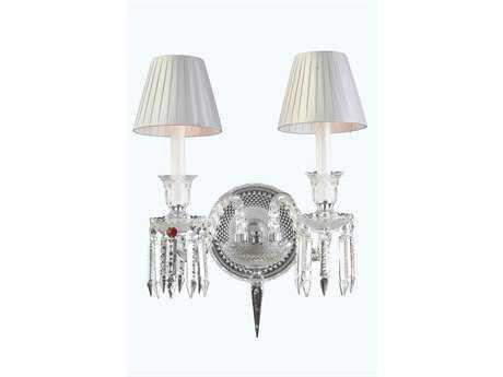 Elegant Lighting Majestic Elegant Cut Chrome & Crystal Two-Light Wall Sconce EG8902W20C