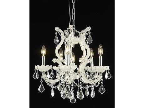 Elegant Lighting Maria Theresa Royal Cut White & Crystal Six-Light 20'' Wide Chandelier EG2800D20WH