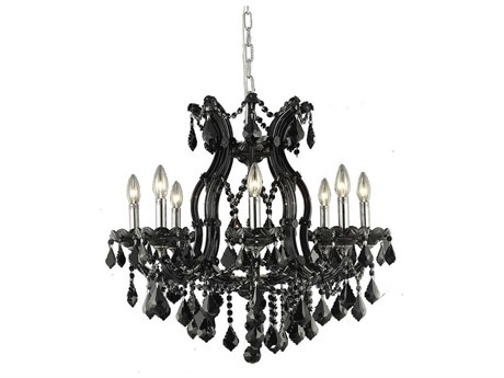 Elegant Lighting Maria Theresa Black Nine-Light 26'' Wide Chandelier with Royal Cut Crystal