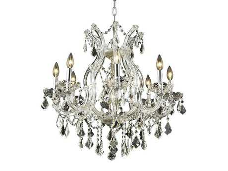Elegant Lighting Maria Theresa Royal Cut Chrome & Crystal Nine-Light 26'' Wide Chandelier EG2800D26C
