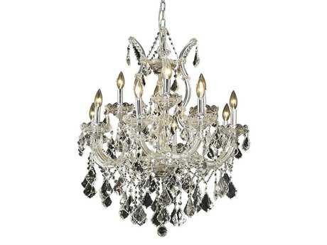 Elegant Lighting Maria Theresa Royal Cut Chrome & Crystal 13-Light 27'' Wide Chandelier EG2800D27C