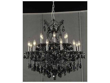 Elegant Lighting Maria Theresa Black 19-Light 30'' Wide Chandelier with Royal Cut Crystal