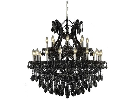 Elegant Lighting Maria Theresa Black 24''-Light 36 Wide Chandelier with Royal Cut Crystal