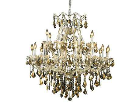 Elegant Lighting Maria Theresa Royal Cut Chrome & Golden Teak 24-Light 36'' Wide Chandelier EG2800D36CGT