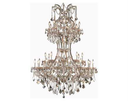 Elegant Lighting Maria Theresa Royal Cut Golden Teak 36-Light 46'' Wide Grand Chandelier EG2800D46GTGT