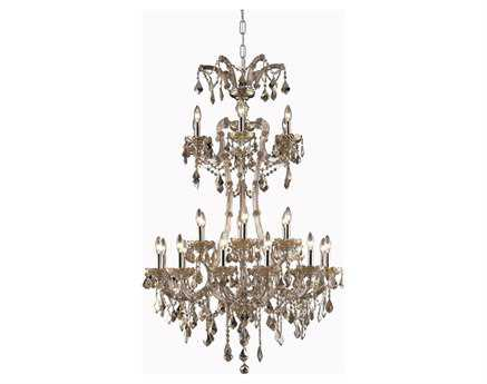 Elegant Lighting Maria Theresa Royal Cut Golden Teak 24-Light 32'' Wide Grand Chandelier EG2800G32GTGT