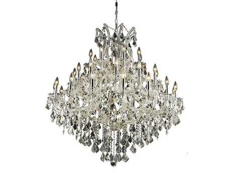 Elegant Lighting Maria Theresa Royal Cut Chrome & Crystal 37-Light 44'' Wide Grand Chandelier EG2800G44C