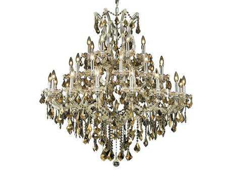 Elegant Lighting Maria Theresa Royal Cut Chrome & Golden Teak 37-Light 44'' Wide Grand Chandelier EG2800G44CGT