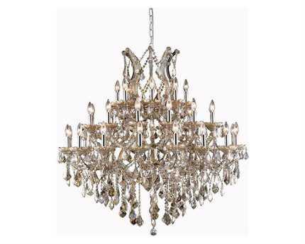 Elegant Lighting Maria Theresa Royal Cut Golden Teak 37-Light 44'' Wide Grand Chandelier EG2800G44GTGT