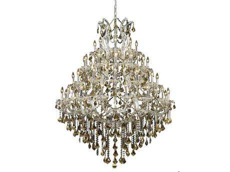 Elegant Lighting Maria Theresa Royal Cut Chrome & Golden Teak 49-Light 46'' Wide Grand Chandelier EG2800G46CGT