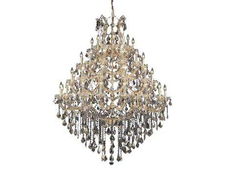 Elegant Lighting Maria Theresa Royal Cut Gold & Golden Teak 49-Light 46'' Wide Grand Chandelier EG2800G46GGT