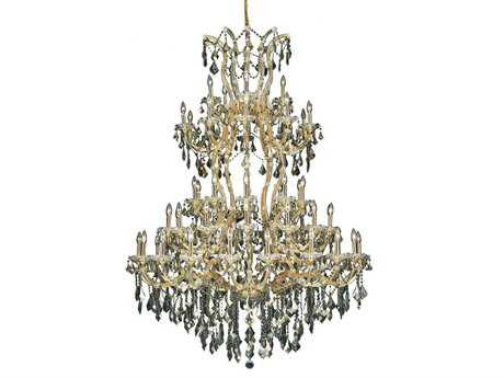 Elegant Lighting Maria Theresa Royal Cut Gold & Golden Teak 61-Light 54'' Wide Grand Chandelier EG2800G54GGT