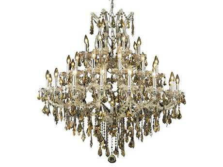 Elegant Lighting Maria Theresa Royal Cut Chrome & Golden Teak 37-Light 44'' Wide Grand Chandelier EG2801G44CGT