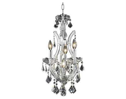 Elegant Lighting Maria Theresa Royal Cut Chrome & Crystal Four-Light 12'' Wide Mini Chandelier EG2800D12C