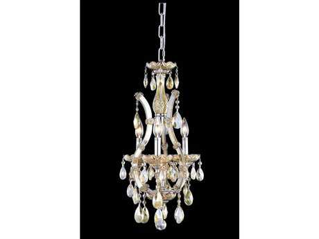 Elegant Lighting Maria Theresa Royal Cut Golden Teak Four-Light 12'' Wide Mini Chandelier