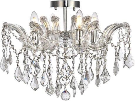 Elegant Lighting Maria Theresa Chrome Four-Light 18'' Wide Semi-Flush Mount Light With Royal Cut Crystal