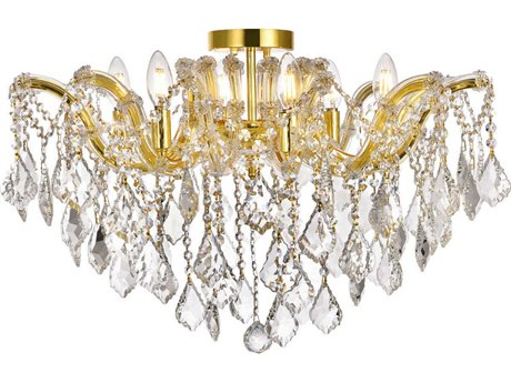 Elegant Lighting Maria Theresa Gold Six-Light 24'' Wide Semi-Flush Mount Light with Elegant Cut Crystal