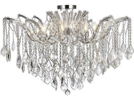 Elegant Lighting Maria Theresa Chrome Eight-Light 36'' Wide Semi-Flush Mount Light With Royal Cut Crystal