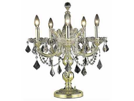 Elegant Lighting Maria Theresa Royal Cut Gold & Crystal Five-Light Table Lamp EG2800TL19G