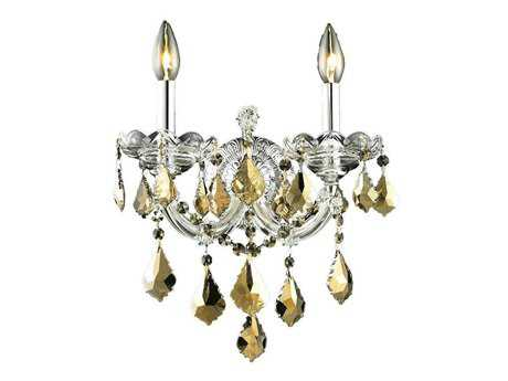 Elegant Lighting Maria Theresa Royal Cut Chrome & Golden Teak Two-Light Wall Sconce EG2800W2CGT