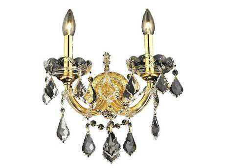 Elegant Lighting Maria Theresa Royal Cut Gold & Crystal Two-Light Wall Sconce EG2800W2G