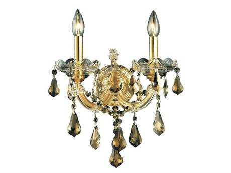 Elegant Lighting Maria Theresa Royal Cut Gold & Golden Teak Two-Light Wall Sconce EG2801W2GGT