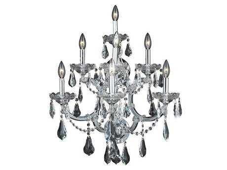 Elegant Lighting Maria Theresa Royal Cut Chrome & Crystal Seven-Light Wall Sconce EG2801W7C