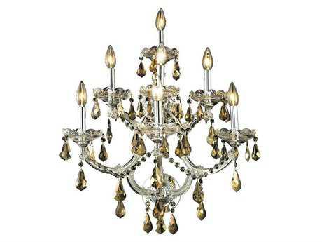 Elegant Lighting Maria Theresa Royal Cut Chrome & Golden Teak Seven-Light Wall Sconce EG2801W7CGT