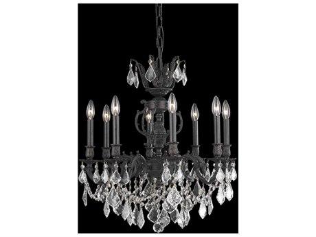 Elegant Lighting Marseille Dark Bronze Eight-Light 24'' Wide Chandelier with Swarovski Crystal
