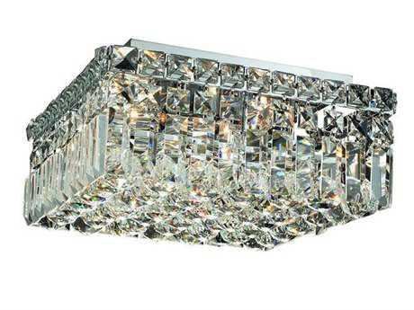 Elegant Lighting Maxim Royal Cut Chrome & Crystal Four-Light 12'' Wide Flush Mount Light EG2032F12C