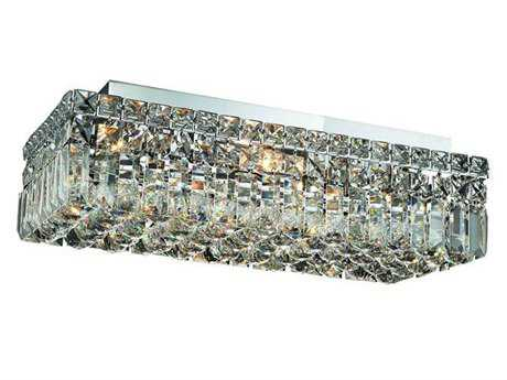 Elegant Lighting Maxim Royal Cut Chrome & Crystal Four-Light 10'' Wide Flush Mount Light EG2034F20C