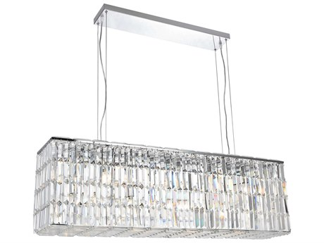Elegant Lighting Maxim Royal Cut Chrome & Crystal Eight-Light 44'' Long Island Light EG2018D44C