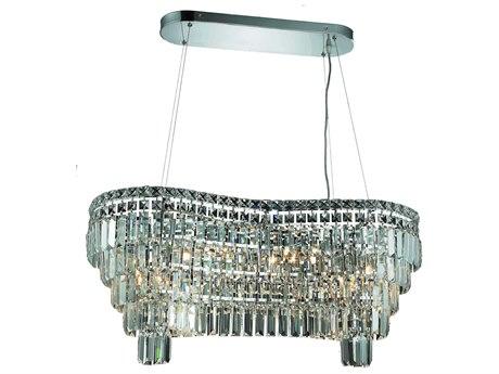 Elegant Lighting Maxim Royal Cut Chrome & Crystal 14-Light 32'' Long Island Light EG2019D32C