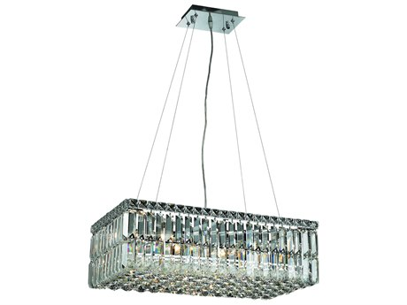 Elegant Lighting Maxim Royal Cut Chrome & Crystal Six-Light 24'' Long Island Light EG2034D24C