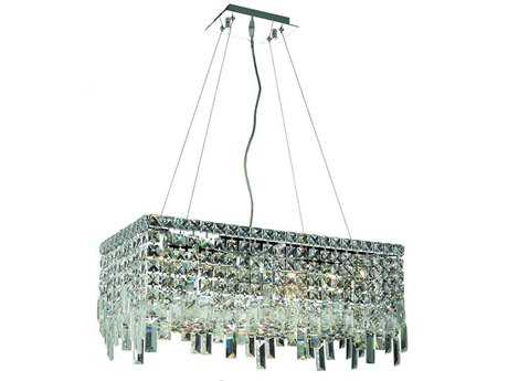 Elegant Lighting Maxim Royal Cut Chrome & Crystal Six-Light 24'' Long Island Light EG2035D24C