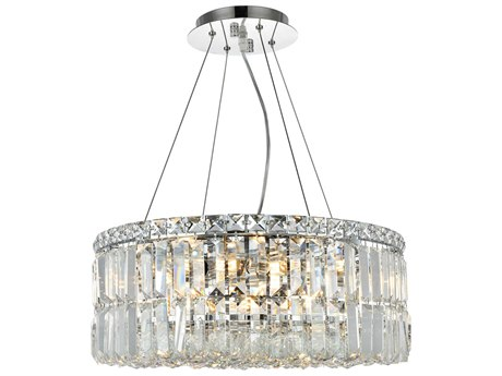 Elegant Lighting Maxim Royal Cut Chrome & Crystal 12-Light 20'' Wide Pendant EG2030D20C