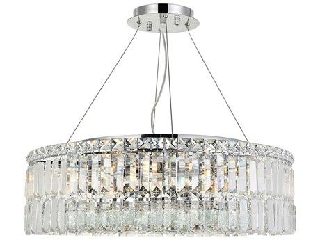 Elegant Lighting Maxim Royal Cut Chrome & Crystal 12-Light 24'' Wide Pendant EG2030D24C