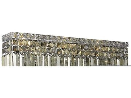 Elegant Lighting Maxim Royal Cut Chrome & Golden Teak Four-Light Vanity Light EG2032W18CGT
